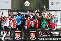 Woking celebrate winning promotion to the national league during Woking vs Welling United, Vanarama National League South Promotion Play-Off Final Football at The Laithwaite Community Stadium on 12th May 2019
