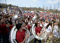 NWA Democrat-Gazette/ANDY SHUPE<br /> Members of the University of Arkansas Marching Razorback Band perform Saturday, April 6, 2019, during the annual HogFest fan celebration prior to the Razorbacks' spring game in Razorback Stadium in Fayetteville. Visit nwadg.com/photos to see more photographs from the game.