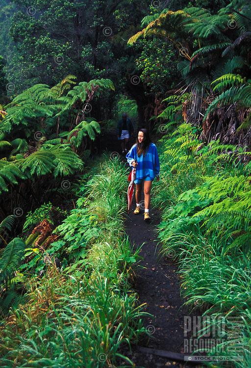 Hikers in Hawaii Volcanoes National Park, Big Island of Hawaii.