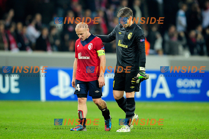 deception de Florent Balmont et Mickel Landreau (Lille) .Lille 23/10/2012 Stadio Metropole.Football Calcio 2012/2013 Champions League.Lille Vs Bayern.foto JB Autissier / Panoramic / Insidefoto.ITALY ONLY