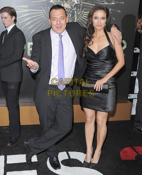 Tom Sizemore & Olga Segura.'The Expendables 2' premiere held at The Grauman's Chinese Theatre, Hollywood, California, USA..15th August 2012.full length dress arm over shoulder black purple shirt tie smiling hand arm.CAP/DVS.©DVS/Capital Pictures.