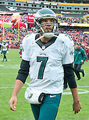 Philadelphia Eagles quarterback Sam Bradford (7) looks up into the stands as he leaves the field after his team's 23-20 loss to the Washington Redskins at FedEx Field in Landover, Maryland on October 4, 2015. The Redskins won the game 23-20.<br /> Credit: Ron Sachs / CNP