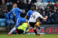 Jack Marriott of Peterborough United takes a shot at the Gillingham goal as Max Ehmer tries to block the ball during Gillingham vs Peterborough United, Sky Bet EFL League 1 Football at the MEMS Priestfield Stadium on 10th February 2018