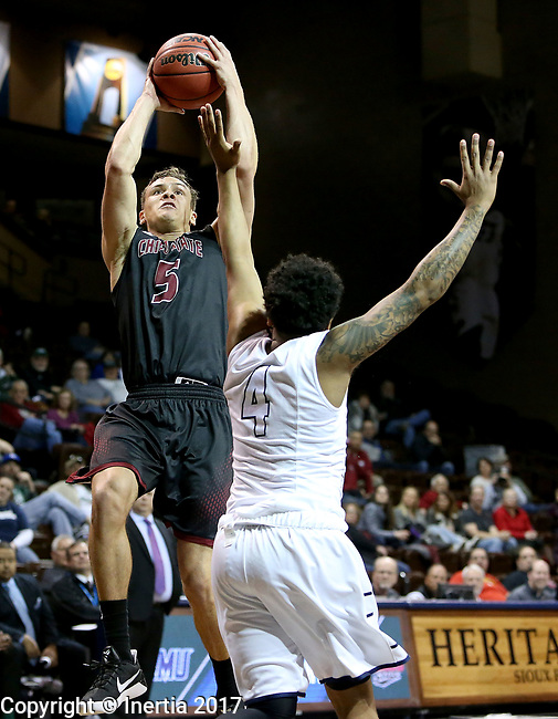 SIOUX FALLS, SD: MARCH 22: Robert Duncan #5 from Chico State shoots over Deshawn Patterson #4 from Lincoln Memorial during the Men's Division II Basketball Championship Tournament on March 22, 2017 at the Sanford Pentagon in Sioux Falls, SD. (Photo by Dave Eggen/Inertia)