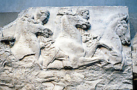 Greek Arts:  The Parthenon--Horsemen, South Frieze--largely obliterated.  Photo '90.