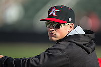 Kannapolis Intimidators hitting coach Justin Jirschele (9) during the game against the Hickory Crawdads at Kannapolis Intimidators Stadium on April 10, 2016 in Kannapolis, North Carolina.  The Intimidators defeated the Crawdads 10-3.  (Brian Westerholt/Four Seam Images)