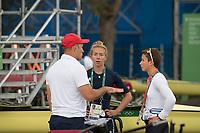 Rio de Janeiro. BRAZIL.  GBR LW2X. chat before the start of the days prgramme, left to roight, Paul REEDY, Kat COPELAND and Charlotte TAYLOR.  2016 Olympic Rowing Regatta. Lagoa Stadium,<br /> Copacabana,  &ldquo;Olympic Summer Games&rdquo;<br /> Rodrigo de Freitas Lagoon, Lagoa.   Monday  08/08/2016 <br /> <br /> [Mandatory Credit; Peter SPURRIER/Intersport Images]