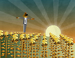 Illustration of dollar signs field with scarecrow