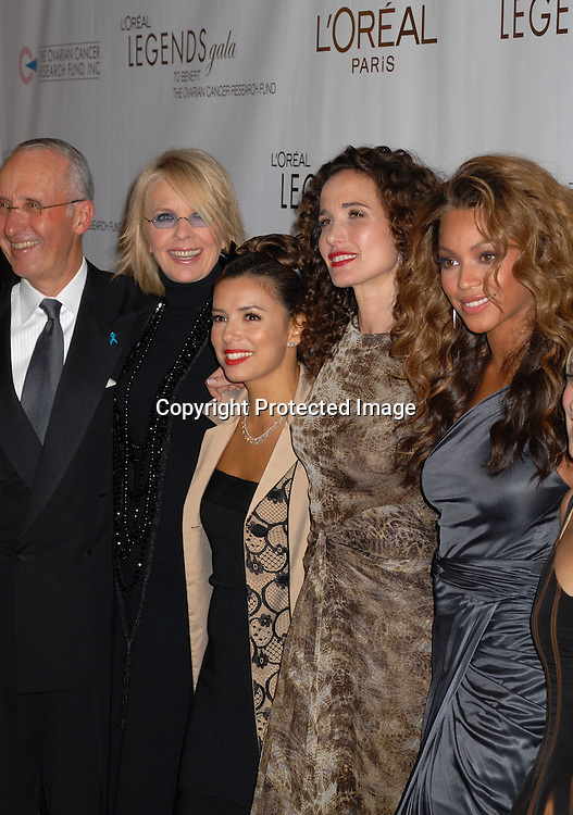 Joe Hamilton, Diane Keaton, Eva Longoria, Andie MacDowell, Beyonce Knowles, ..arriving at The Ovarian Cancer Research Fund L'Oreal Legends Gala on November 8, 2006 at The American Museum of Natural History. ..Robin Plater, Twin Images