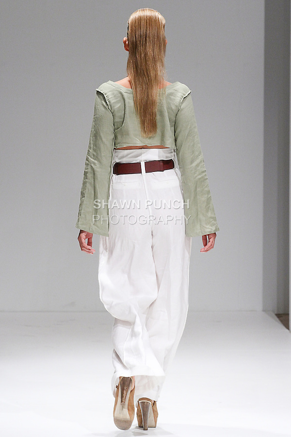 Model walks runway in an outfit from the Charmaine Spicer collection, at Fashion Gallery New York Fashion Week Spring Summer 2015, during New York Fashion Week Spring 2015.