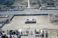 Teotihuacan, Mexico. April, 1972<br /> The Pyramid of the Moon is the second largest pyramid in Teotihuacan, Mexico after the Pyramid of the Sun.<br /> The Pyramid's construction between 200 and 450 AD completed the bilateral symmetry of the temple complex. A slope in front of the staircase gives access to the Avenue of the Dead, a platform atop the pyramid was used to conduct ceremonies in honor of the Great Goddess of Teotihuacan. Credit: Mark Reinstein/MediaPunch
