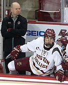 John Hegarty (BC - Director-HockeyOps), Casey Fitzgerald (BC - 5) - The visiting University of Vermont Catamounts tied the Boston College Eagles 2-2 on Saturday, February 18, 2017, Boston College's senior night at Kelley Rink in Conte Forum in Chestnut Hill, Massachusetts.Vermont and BC tied 2-2 on Saturday, February 18, 2017, Boston College's senior night at Kelley Rink in Conte Forum in Chestnut Hill, Massachusetts.