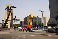 Pedestraians and traffic on the corner of Insugentes and the Paseo de la Reforma, Mexico City