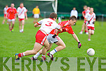 East Kerry's Dara Roche and An Ghaeltacht's Cathal O Luing in action in the minor County championship final at Killorglin on Saturday.