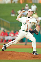 Greensboro starting pitcher Brett Sinkbeil winds up to deliver the ball to the plate versus Lakewood at First Horizon Park in Greensboro, NC, Monday, July 17, 2006.  Sinkbeil was the Marlins first round selection (19th overall) in the 2006 Amateur Draft.