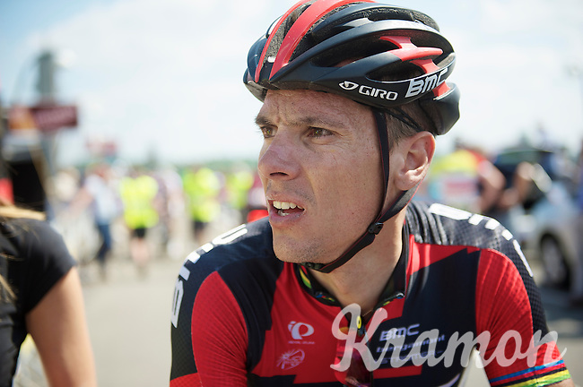 Philippe Gilbert (BEL/BMC) can't believe he is now leader in the points classification <br /> <br /> 2014 Belgium Tour<br /> stage 4: Lacs de l'Eau d'Heure - Lacs de l'Eau d'Heure (178km)