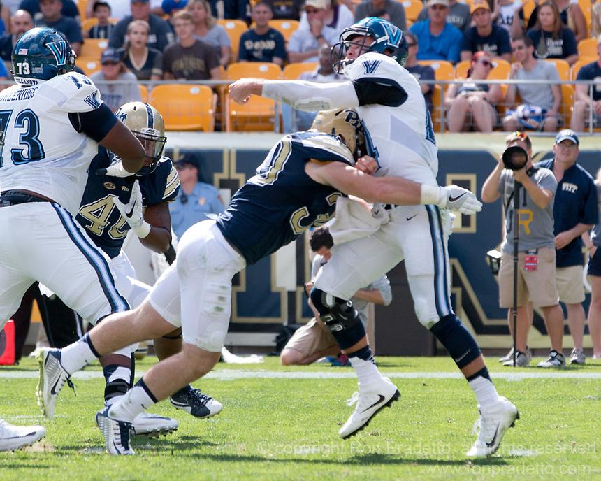 Pitt linebacker Mike Caprara hits the quaterback. The Pitt Panthers defeated the Villanova Wildcats 28-7 at Heinz Field, Pittsburgh, Pennsylvania on September 3, 2016.
