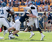 Pitt linebacker Mike Caprara hits the quaterback. The Pitt Panthers defeated the Villanova Wildcats 28-7 at Heinz Field, Pittsburgh, Pennsylvania on September 3, 2016.