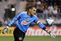 Philadelphia Union goalkeeper Faryd Mondragon (1) clears a ball. The Philadelphia Union and the Houston Dynamo played to a 1-1 tie during a Major League Soccer (MLS) match at PPL Park in Chester, PA, on August 6, 2011.