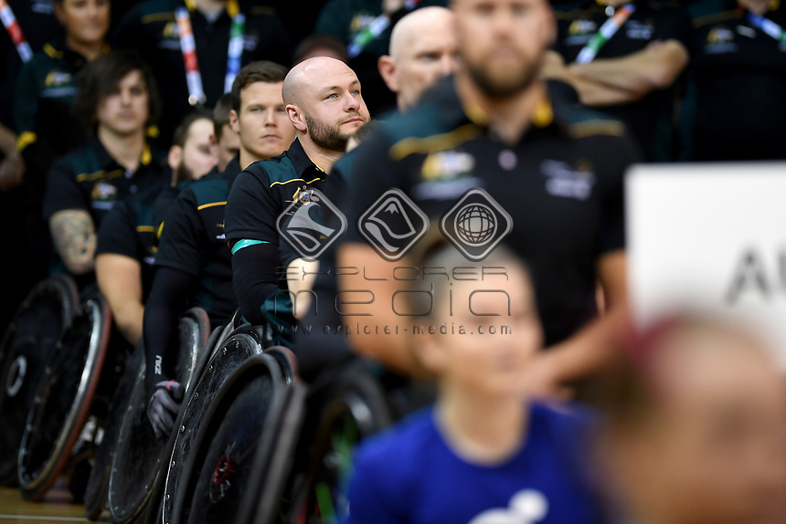 Opening Ceremony - Chris Bond (Aus)<br /> Australian Wheelchair Rugby Team<br /> 2018 IWRF WheelChair Rugby <br /> World Championship / Day 1<br /> Sydney  NSW Australia<br /> Sunday 5th August 2018<br /> © Sport the library / Jeff Crow / APC