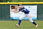 Basic Wolves' Jordan Stinnett makes a catch in left field against the Douglas Tigers in the NIAA 4A softball tournament, in Reno, Nev., on Thursday, May 17, 2018. Douglas won 8-5. Cathleen Allison/Las Vegas Review-Journal