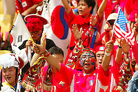 South Korea fans. The USA tied South Korea, 1-1, during the FIFA World Cup 2002 in Daegu, Korea.