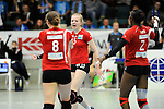 Rüsselsheim, Germany, April 13: Jennifer Geerties #15 of the Rote Raben Vilsbiburg celebrates after winning a point during play off Game 1 in the best of three series in the semifinal of the DVL (Deutsche Volleyball-Bundesliga Damen) season 2013/2014 between the VC Wiesbaden and the Rote Raben Vilsbiburg on April 13, 2014 at Grosssporthalle in Rüsselsheim, Germany. Final score 0:3 (Photo by Dirk Markgraf / www.265-images.com) *** Local caption ***