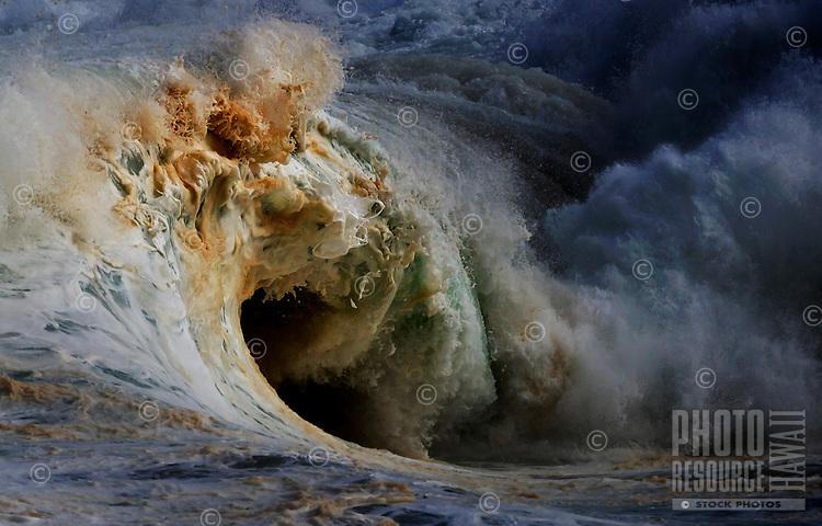 World-famous winter shore break  waves, 20-plus feet, Banzai Pipeline, 'Ehukai Beach, North Shore, O'ahu.