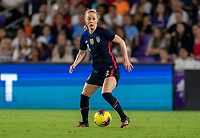 ORLANDO, FL - MARCH 05: Becky Sauerbrunn #4 of the United States dribbles during a game between England and USWNT at Exploria Stadium on March 05, 2020 in Orlando, Florida.