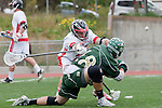 Palos Verdes, CA 04/20/10 - Cole Bender (Palos Verdes #27) and Tom Farrell (Mira Costa #18) in action during the Mira Costa-Palos Verdes boys lacrosse game.