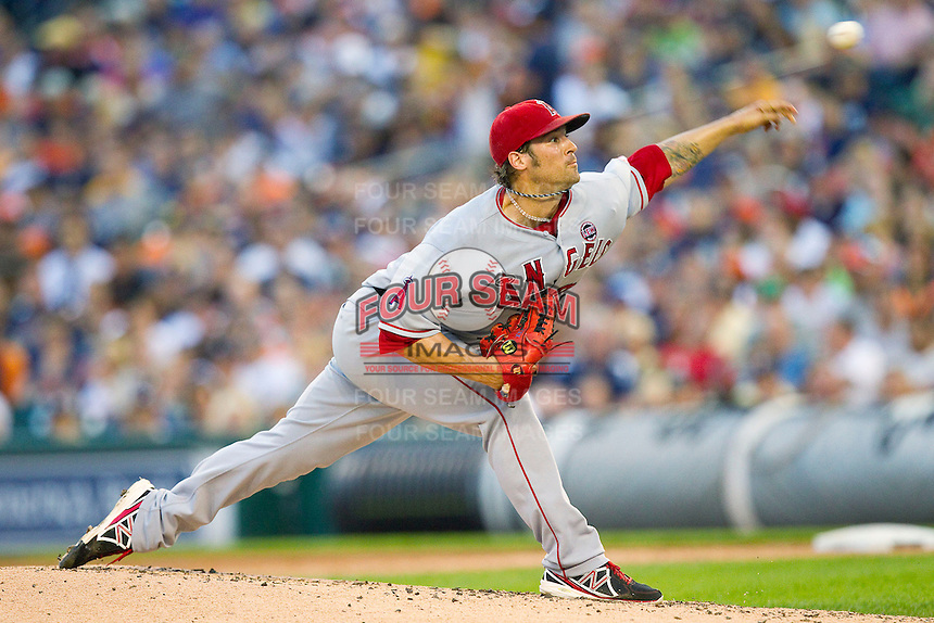 Los Angeles Angels starting pitcher C.J. Wilson (33) delivers a pitch to the plate against the Detroit Tigers at Comerica Park on June 25, 2013 in Detroit, Michigan.  The Angels defeated the Tigers 14-8.  (Brian Westerholt/Four Seam Images)