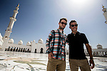 Official race ambassador Mark Cavendish (GBR) and Joaquim Rodriguez (ESP) visit the Sheikh Zayed Grand Mosque before Stage 4, The Yas Stage, of the 2015 Abu Dhabi Tour running 110 km 20 laps around the Yas Marina Circuit, Abu Dhabi. 11th October 2015.<br /> Picture: ANSA/Angelo Carconi | Newsfile