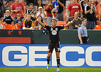 D.C. United midfielder Andy Najar (14) celebrates his score in the 13th minute of the game. D.C. United defeated Real Salt Lake 4-0 at RFK Stadium, Saturday September 24 , 2011.