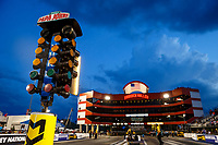 Jun 16, 2017; Bristol, TN, USA; Overall view of the christmas tree starting line light system on the starting line of Bristol Dragway following NHRA qualifying for the Thunder Valley Nationals. Mandatory Credit: Mark J. Rebilas-USA TODAY Sports