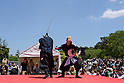Chris O'Neill, MAY 5, 2016 - American Chris O'Neill, the first foreign full-time salaried ninja in Japan, performs with his Japanese colleagues during an event at Nagoya Castle in Nagoya, Aichi Prefecture, Japan. O'Neill joins six Japanese ninjas hired by Aichi Prefecture to promote tourism in the region.<br /> <br /> O'Neill said being a ninja was a lifelong dream. &quot;My personal goal is to protect the weak, defend the innocent, and be a guardian for those who need a guardian,&quot; he said in response to a reporter's question.<br /> <br /> O'Neill added that he was proud to perform alongside his six Japanese colleagues. &quot;We're writing the next chapter of ninja history. We're the next generation of ninja.&quot; (Photo by Ben Weller/AFLO) (JAPAN) [UHU]