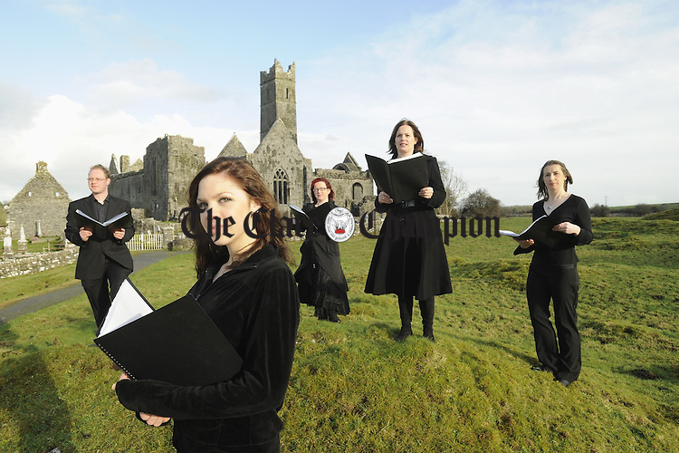 Breandán Ó hÉamhaigh, Susan O Neill, Fiona Walsh, musical director, Sheila Bunce and Mary Healy, members of the Ennis Gospel Choir who are performing in the Glor Irish Music Centre at 8p.m. on February 19th. Photograph by John Kelly.