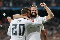 Players Real Madrid  Nacho and Jese celebrating goal  of Nacho
