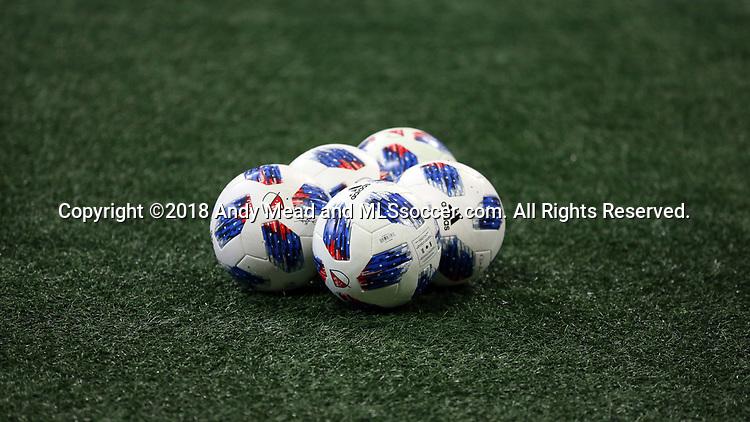 ATLANTA, GA - DECEMBER 07: MLS adidas Nativo balls. The MLS Cup 2018 Team Training Sessions were held on December 7, 2018 at the Mercedes Benz Stadium in Atlanta, GA.
