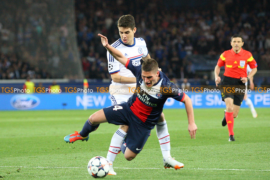 Marco Verratti of Paris St-Germain and Oscar  of Chelsea - Paris St Germain vs Chelsea, Champions League Quarter Final Football at the Parc Des Princes Stadium - 02/04/14 - MANDATORY CREDIT: Dave Simpson/TGSPHOTO - Self billing applies where appropriate - 0845 094 6026 - contact@tgsphoto.co.uk - NO UNPAID USE