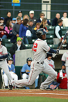 Potomac Nationals outfielder Michael Taylor #12 at bat during a game against the Myrtle Beach Pelicans at Tickerreturn.com Field at Pelicans Ballpark on April 12, 2012 in Myrtle Beach, South Carolina. Myrtle Beach defeated Potomac by the score of 1-0. (Robert Gurganus/Four Seam Images)