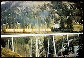 Lobato trestle - #493 K-37 with gondolas hauling lumber.<br /> D&amp;RGW  Lobato, NM