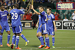 23 May 2013:  Cesar Azpilicueta (28)(ESP) of Chelsea is congratulated by teammate Demba Ba (29)(FRA) after scoring on a PK.  Chelsea F.C. was defeated by Manchester City 3-4 at Busch Stadium in Saint Louis, Missouri, in a friendly exhibition soccer match.