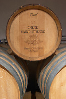Barrel from wood from the Saint Etienne oak by Vicard. Oak barrel aging and fermentation cellar. Domaine Henri Bourgeois, Chavignol, Sancerre, Loire, France