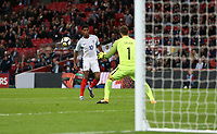 Marcus Rashford of England goes close in the second half<br /> <br /> Photographer Rob Newell/CameraSport<br /> <br /> FIFA World Cup Qualifying - European Region - Group F - England v Slovenia - Thursday 5th October 2017 - Wembley Stadium - London<br /> <br /> World Copyright &copy; 2017 CameraSport. All rights reserved. 43 Linden Ave. Countesthorpe. Leicester. England. LE8 5PG - Tel: +44 (0) 116 277 4147 - admin@camerasport.com - www.camerasport.com