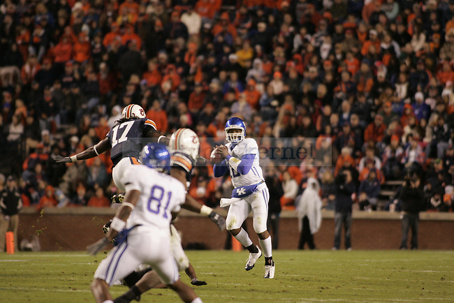 UK quarterback Morgan Newton looks for a pass in the first half of the game against Auburn at the Jordan-Hare Stadium Saturday..Photo by Zach Brake | Staff