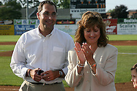 June 19, 2009:  St. Louis Cardinals General Manager John Mozeliak and Naomi Silver during a ceremony to award the 2008 NY-Penn League Champions before a game at Dwyer Stadium in Batavia, NY.  The Batavia Muckdogs are the NY-Penn League Short Season Class-A affiliate of the St. Louis Cardinals.  Photo by:  Mike Janes/Four Seam Images