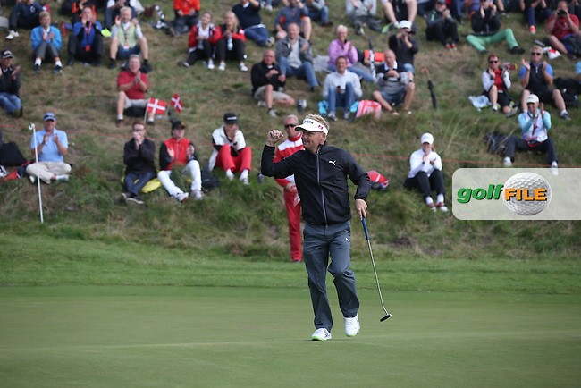 Soren Kjeldsen (DEN) birdies the 16th and receives a massive roar during Round Two of the Made in Denmark 2014 Pro-Am from the Himmerland Golf & Spa Resort, Aalborg, Denmark. Picture:  David Lloyd / www.golffile.ie