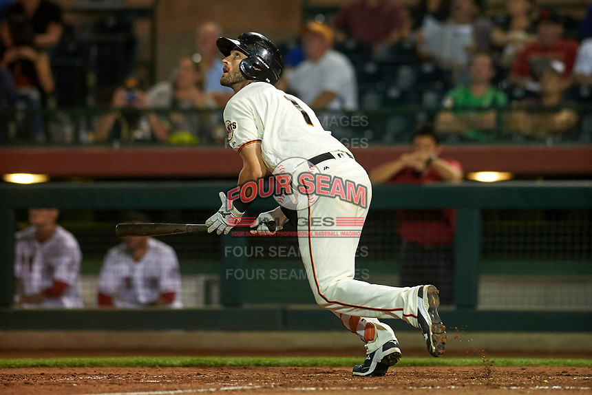 Scottsdale Scorpions center fielder Steven Duggar (1), of the San Francisco Giants organization, starts down the first base line during an Arizona Fall League game against the Peoria Javelinas on October 20, 2017 at Scottsdale Stadium in Scottsdale, Arizona. the Javelinas defeated the Scorpions 2-0. (Zachary Lucy/Four Seam Images)