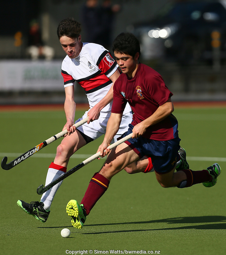 Action from the Rankin Cup Hockey knockout round match between Kings College (maroon tops) and Scots College at Kolmar Hockey Turf, Papatoetoe, Auckland, New Zealand,  Wednesday 2 September 2015. Photo: Simon Watts / www.bwmedia.co.nz