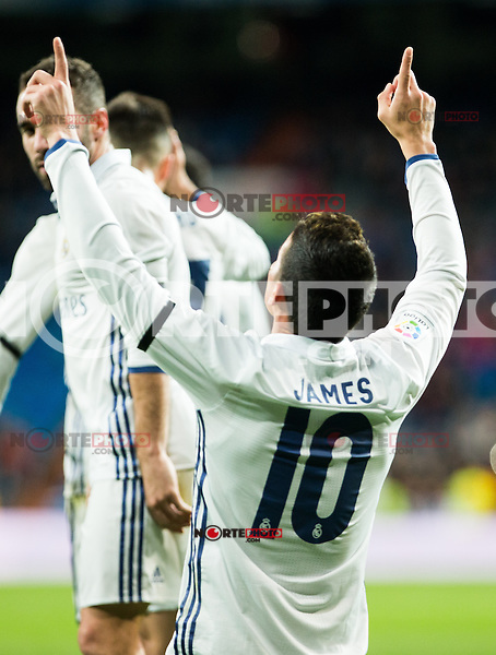"Real Madrid's James Rodriguez during the match of ""Copa del Rey"" between Real Madrid and Cultural Leonesa at Santiago Bernabeu Stadium in Madrid, Spain. November 29, 2016. (ALTERPHOTOS/Rodrigo Jimenez) /NORTEPHOTO.COM"